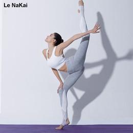 il ballo bianco di yoga ansima Sconti Pantaloni di yoga della maglia bianca di yoga delle donne di legging di yoga della vita del piedino di yoga della vita alta più pantaloni della staffa di sport della stirata