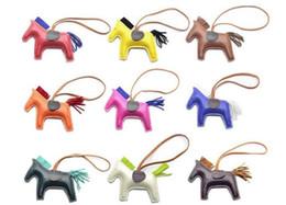 Wholesale Rodeo Fashion - New 17 Colors Fashion Cute Women's Bag Pendant High-end Handmade PU Handbag Key Chains Tassel Rodeo Horse Bag Charm bag Accessories