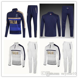 Wholesale Italia Football - 2017 2018 Survetement football Italy tracksuit italia training suit kits Soccer Chandal italian training shinny tight pants sweater shirt