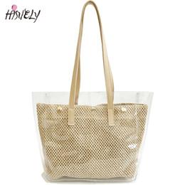 2018 Summer High Capacity Transparent Tote Bag Big Shoulder Bag Women Beach  Handbags Fashion PVC Waterproof Straw bags Holiday 7bbddda68ce6f