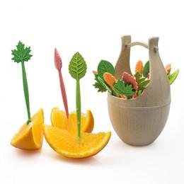 mesas de comida Desconto Folhas de Palha de trigo Fruta Garfo Conjunto Eco-Friendly Biodegradável Garfo Natural Do Bolo Do Partido Salada De Legumes Garfos de Tabela de Decoração Do Alimento Ferramentas NA12