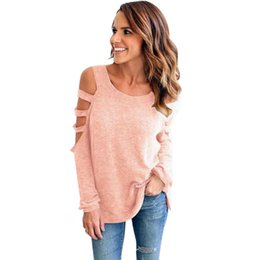 Wholesale Wholesale Cold Cuts - Cold Shoulder Sexy Women T-Shirts Long Sleeve Ladies Loose Top Tees Pullover Cotton Tshirt Round Neck Cut Out T-shirt Autumn