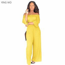 estilos de macacão de perna larga Desconto Amarelo / Preto Sexy Fora Do Ombro Barra Pescoço Ruffle Meia Manga Full-length Macacões Streetwear Largas Pernas Soltas Macacões de Estilo