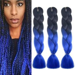 2019 tranças de crochê azul Xpression Ombre Trança cabelo Kanekalon Tranças De Crochê Jumbo Sintético torção 24 inch 100g dois tons de Extensões de Cabelo Azul desconto tranças de crochê azul