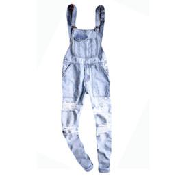 Salopette de neige en Ligne-Salopette en denim bleu clair pour hommes en denim délavé bleu clair Décontracté jarretelles jarretelles trouées jarretelles Cargo déchiré jeans