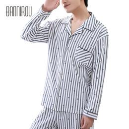 Wholesale Xxl Pajamas Men - Spring Autumn Man Pajamas Set 100% Cotton Full Loose Striped Lapel Buttons Grey High Quality Simple Male Home Wear 2018 L XL XXL
