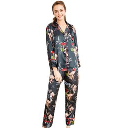 Set di pigiama sexy due pezzi online-Spring Casual Womens Sleep Pajama Sets Flower Stampa Button Full Turn Down Collar Full Length Tuta Due pezzi Suit Pajama Set