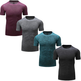 Wholesale Men S Tight Running Shorts - Men Short Sleeve Fitness Basketball Running Sports T shirt Thermal Muscle Bodybuilding Gym Compression Tights Jersey Jacket Tops