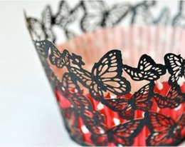 Wholesale Fast Butterfly - Fast shipment 200pcs cake decoration Black Butterfly laser cut lace wedding cupcake wrapper paper cup cake wrap by Express