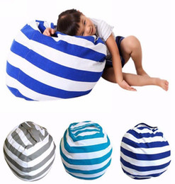 Wholesale Tatami Chairs - Kids Soft Cotton Storage Pouch Stuffed Animal Toy Bean Bags Stripe Fabric Chairs Tatami Leisure Bag 5Colors DDA98