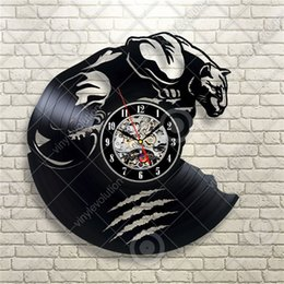 Wholesale Wild Decor - Panther Wild Animal Vinyl Record Creative Wall Clock Modern Home Decor Party Decoration Quartz Wall Clock (Size: 12 inches, Color: Black)