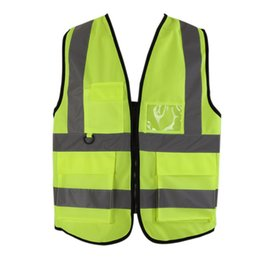 Wholesale white motorcycle vest - High Visibility Reflective Vest Workplace Road Working Clothes Motorcycle Outdoor Reflective Cycling Sport Safety Clothes