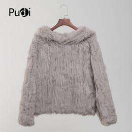 Canada CT803 femmes véritable lapin fourrure tricoté manteau chaud fille hiver vestes chandails manteaux de mode avec manteau de capuche de fourrure Offre