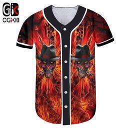 taste cool Rabatt OGKB Kühle rauchende Flammen-Schädel-Druck-Baseball-T-Shirt Entwurfs-Mode-Kurzschluss-Hülsen-Knopf-Wolljacke-bequeme angesagte Hüfte-Hopfen