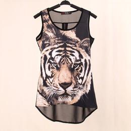Wholesale Tiger Sleeveless Shirt - 2017 Summer New Tops woven Digital Printed Tiger Sleeveless t shirts vest knitted LYCRA Chiffon women's tank Tops free shipping