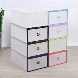 Wholesale Box Color Pattern - Translucent Shoebox Storage Man Case Candy Color Boxes Double Decker Frame Drawer Type container New Pattern dustproof 5 1jd X