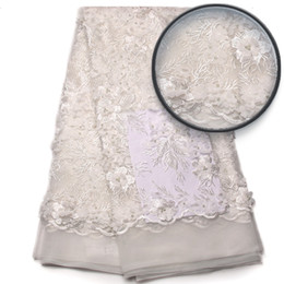Wholesale Material Flowers For Dresses - 2017 White French Net Lace Material Hot Selling French 3D Flower Beaded Lace Fabric African Guipure Dresses For Women QF768B-1