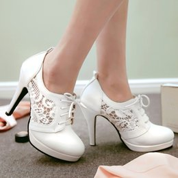 Wholesale high heels shoes online - High quality Women fashion lace up high heels sexy women pumps shoes online 10CM heels