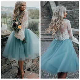 Wholesale Lace Top Tutu Skirt - 2018 Lace Top Long Sleeves Two Piece Tulle Skirt Homecoming Dresses White Lace Top with Tutu Skirt Knee Length Prom Dress Cheap Party Gowns