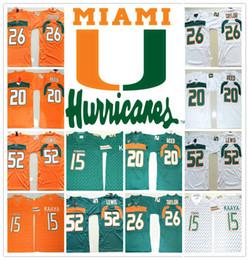 Wholesale red reeds - HOT Miami Hurricanes COLLEGE NCAA 15 Brad Kaaya 20 Ed Reed 26 Sean Taylor 52 Ray Lewis Jersey Football Jerseys Cheap Jersey SHIRT 19