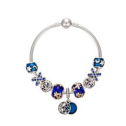 Wholesale Vintage Enamel Bangle Bracelets - Silver Blue Enamel Star and Moon Vintage Bangle Bracelet DIY Jewelry For Women Fit Pandora Beads Bracelets with Gift bags