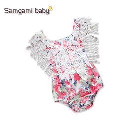 Wholesale Top Selling Kids Clothes - 2018 Top Selling High Quanlity Baby Girls Flower Printed Fringing Rompers Kids Toddlers Lovely Jumpsuits First Walker Kids Clothing