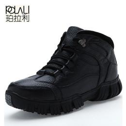 Wholesale England Shoes For Men - POLALI Brand Super Warm Men's Winter Leather Men Waterproof Rubber Snow Boots Leisure Boots England Retro Shoes For Men