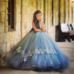 Wholesale Ice Blue Wedding Gowns - 2018 New Arrival Ice Blue Girls Pageant Dresses Handmade Flowers Tiered Tulle Kids Wedding Gowns Pageant Dress for Girls Kids Prom Dresses