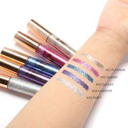 Wholesale Metallic Liners - FOCALLURE New 5 Colors Diamond Glitter Eyeliner Eyeshadow For Easy to Wear Waterproof Liquid Eyeliner Beauty Eye Liner Makeup
