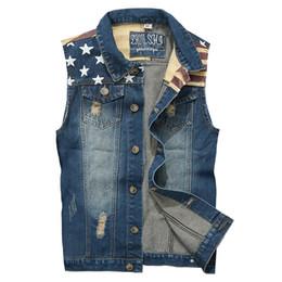 Wholesale vintage cowboy vest - CALOFE Male's Fashion Cowboy Vest Retro Vintage Single Breasted Buttons Vest Lightweight Plus Size Letters Tank Casual Tops 2018