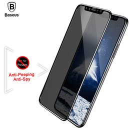 Wholesale 3d Spy - Baseus White and Black Anti Peeping Anti-spy Privacy Tempered Glass 3D Anti-Glare Film Screen Protector For iPhone X