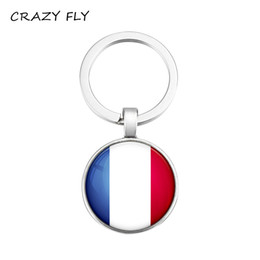chains for glasses Promo Codes - CRAZY FLY Fashion Chaveiro Mini Keychain France Flag Pattern Key Chain Fashion Kids Glass Keychain Toys Keyring For Men Women