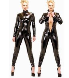 Argentina 2018 Hot Sexy Catwomen negro mono PVC Spandex Latex Catsuit disfraces para mujeres de imitación de cuero fetiche monos Suministro