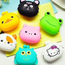 Wholesale Small Silicone Purses - DUDINI Animals Girls Silicone Small Mini Coin Purse Change Wallet Purse Women Key Wallet Coin Bag Children Kids Gifts