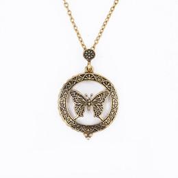 Canada Maxi collier creux papillon cercle unisexe loupe pendentif or antique médaillon long collier bijoux cheap antique gold locket necklace Offre