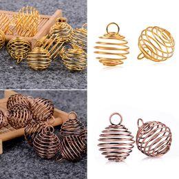 colar de ouro espiral Desconto 10 pcs shellhard espiral gaiola do grânulo pingente diy charme cor de ouro colares jóias pingentes achados 25mm