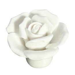 Wholesale Flower Drawer Handles - HOT SALE 1 x Button Door Handle Drawer Cabinet Closet Ceramic Flower Rose Dresser Knob white