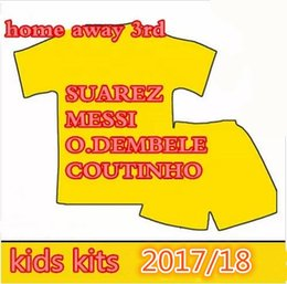 Wholesale Red Sky Jersey - 2018 kids MESSI O.DEMBELE INIESTA PIQUE SUAREZ coutinho Children soccer jersey 17-18 COUTINHO home away sky blue football Sports shirts KITS