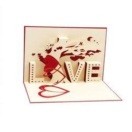 Al por mayor-3D pop-up tarjetas Cupido corazón feliz San Valentín aniversario cumpleaños Navidad Postal desde fabricantes