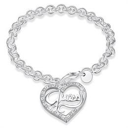 ornement de dames Promotion 2018 vente chaude Lady Peach Heart Charm Bracelets Fine mode argent ornement accessoires Couple Bracelet En Gros
