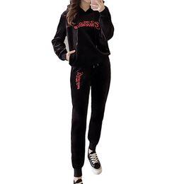 2019 schwarzes veloursgewebe 2018 Frühling Frauen Anzüge Samt Stoff Trainingsanzüge Velour Anzug Frauen Trainingsanzug Hoodies Tops + Lange Hosen Casual Black Sportwear rabatt schwarzes veloursgewebe