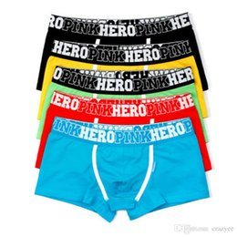 Wholesale Wholesale Mens Clothes - Pink Heroes 5pcs\\lot Men Underwear Boxers Cotton Sexy Boxer Mens Underwear Low Price Brand Clothing Men Boxer Pants Shorts