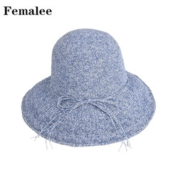 74847d3f0cd6b FEMALEE Hot Sale Sunscreen Boater Hat Korea Dome Lady String Multi-Color  Brim Handmade Straw Cap Bow Tie Leisure Outdoor Holiday