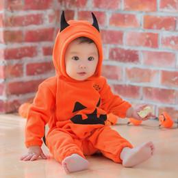 Bebê recém-nascido cosplay on-line-Bebê recém-nascido Abóbora Com Capuz Romper Manga Longa Infantil Abóbora de Halloween Traje Cosplay Meninos Meninas bebê Abóbora Macacão Roupa Roupas