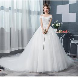 9458f7f8edd Mingli Tengda Sexy Boat Neck Wedding Dresses 2018 Элегантный шнурок  Принцесса Мечта Свадебные платья с плеча бальное платье свадебное платье
