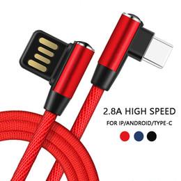 Para iPhone Lightning Cable Android Tipo-C 90 Grados Conector de doble cara Carga USB Cable de Nylon Codo Para iPad Samsung Xiaomi Huawei desde fabricantes
