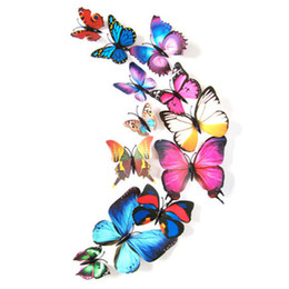 Wholesale Mix Wall Stickers - 12pcs colorful magnetic sticker fridges refrigerator decoration 3D mix colors wall sticking butterfly drop shipping