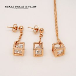 Wholesale Rose Cube - Love Magic Cube Rose Gold Color Small Clear Zirconia Inside Square Hollow out Woman Jewelry Set Necklace Earring Wholesale Gift