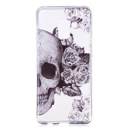 Casos del cráneo de la galaxia online-Cubierta suave para Samsung Galaxy Note 9 Funda TPU IMD Funda de silicona Gel Galaxy Note9 Flower Skull Cover