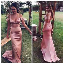Wholesale Silk Strips - 2018 Sexy Spaghetti Strips Mermaid Prom Dresses Slim Vestidos De Soiree Custom Online Special Occasion Party Gowns Cheap Party Gowns